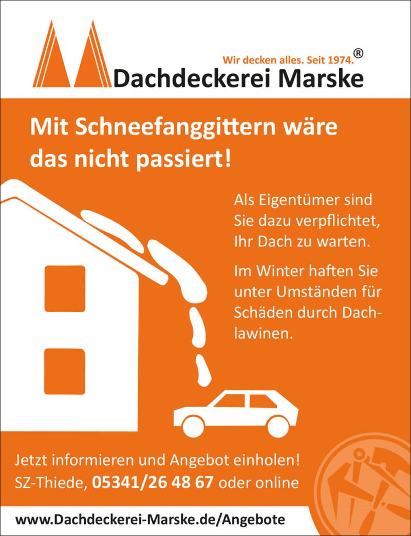 Schneefanggitter-Angebot der Dachdeckerei Marske.