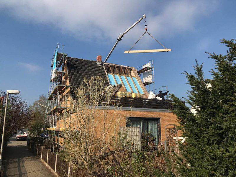 Dachstuhlverlängerung eines Einfamilienhauses in Braunschweig Stöckheim.