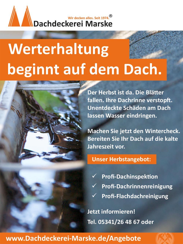 Marske Herbstangebot - Dachwartung/Wintercheck.