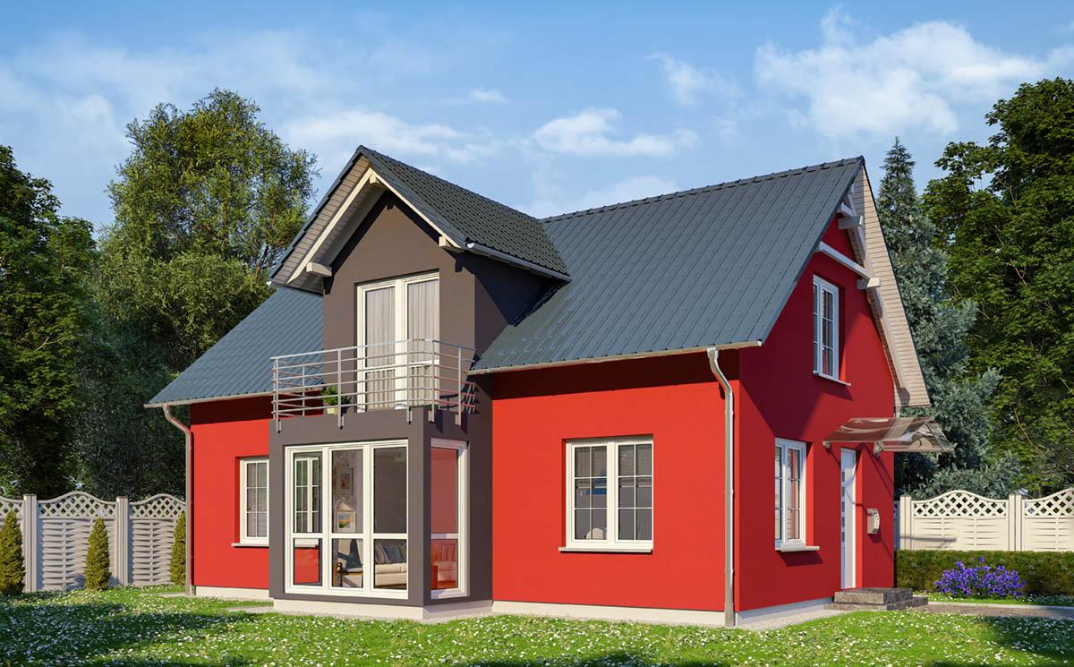 Modernes Einfamilienhaus mit Zwerchhaus.